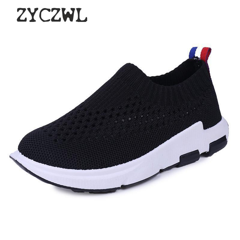 Children Sneakers For Boys 2019 New Kids Sport Shoes Knit Mesh Breathable Running Shoes Girls Light Outdoors School Casual Shoes