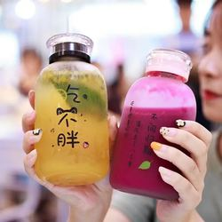 Glass Bottles Strawberry Milk Kawaii Water Bottle Eco Friendly Glass with Straw Glasses Cute Cups Drink Water Bottles for Girls