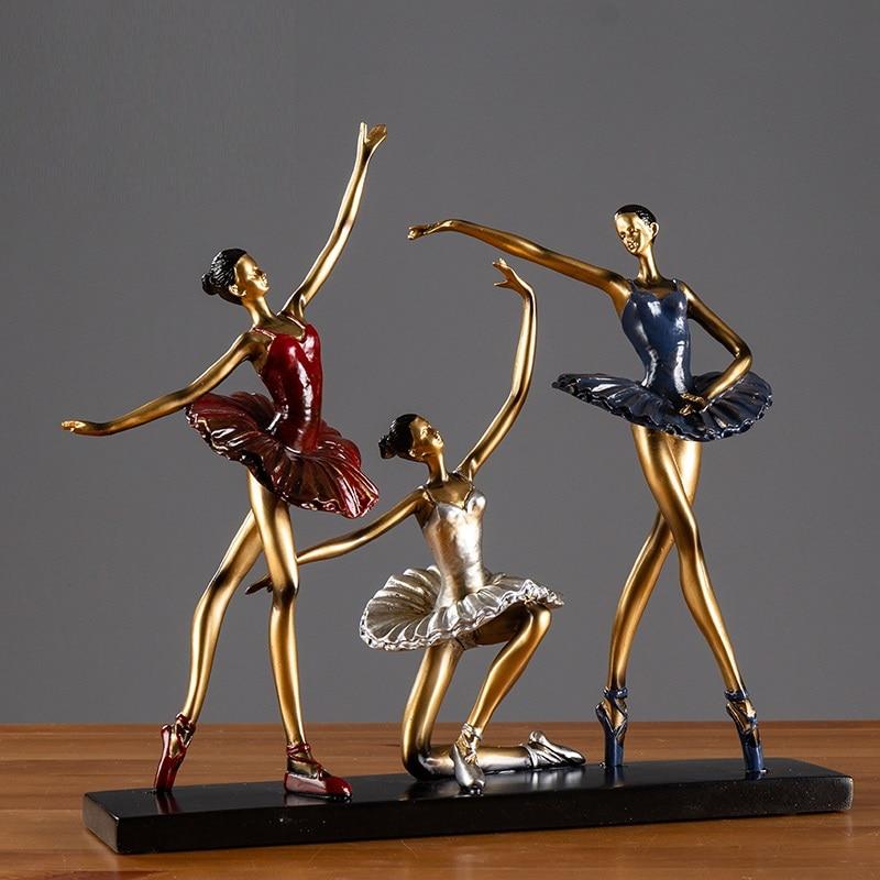 European Ballet Dancer Art Sculpture Abstract Ballerina Figure Figurine Statue Resin Craft Home Decoration Accessories R4903 Figurines Miniatures Aliexpress