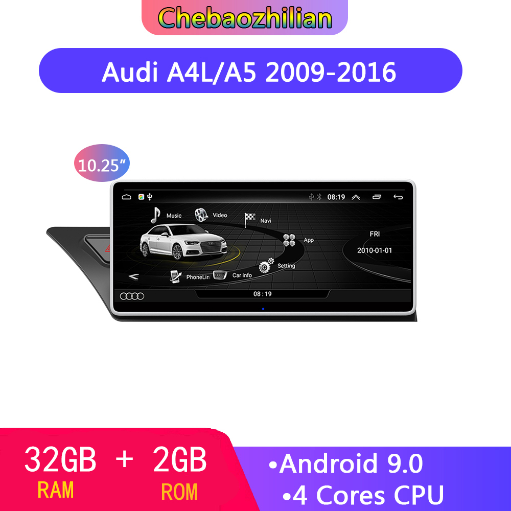Android 9.0 For <font><b>Audi</b></font> A4L B8/A5 2009-2016 <font><b>10.25</b></font> <font><b>inch</b></font> HD touch screen 2+32G Car GPS Navigation Radio multimedia DVD player image