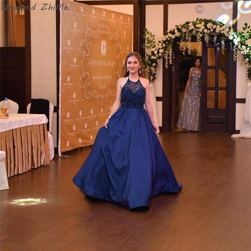 Newland Zhimei Navy Blu Lunghi Abiti da Sera Eleganti Donne Charming Una Linea Backless Senza Maniche Formale Vestiti da Partito 2020 - 5