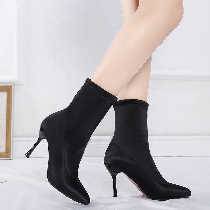 Image 4 - 2019 Sock Boots Winter Comfortable Womens Ankle Booties Fashion High Heel Shoes Ladies Party Wedding Boots Sock Keep Warm ShoesAnkle Boots   -