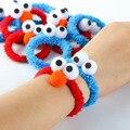 10 Teile/satz Cartoon Plüsch Haar Bands Spielzeug ELMO Cookie Gummiband Armband Mädchen Haar Zubehör Spielzeug Geschenke