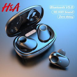 H&A Wireless Bluetooth Earphones TWS 5.0 Wireless Headphones 9D Hifi Stereo Sports Waterproof Earbuds Headsets With Microphones