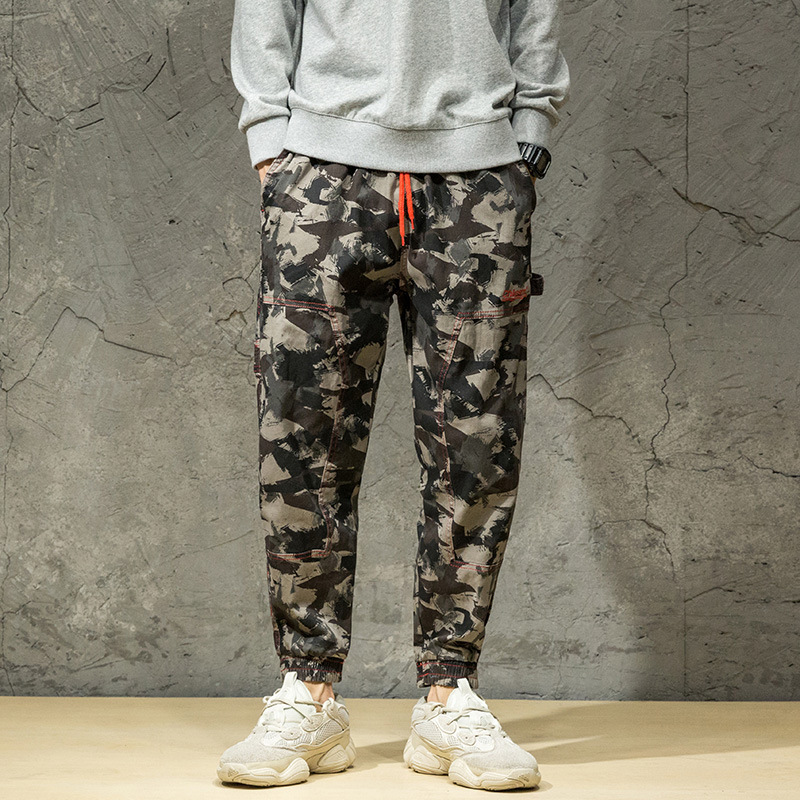 Spring And Autumn Camouflage Harem Skinny Casual Pants Men's Large Size Harem Pants Korean-style Plus-sized Fat Youth Casual Pan