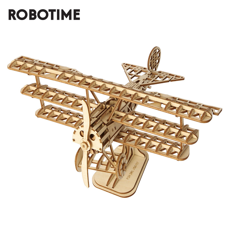 Robotime 3D Laser Cutting Wooden Puzzle Toy Assembly Airplane Model For Kids And Adults TG301