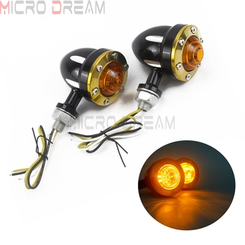 Vintage Brass Motorcycle Custom Turn Signal Indicator For Harley Softail Dyna Road King Amber Blinker Light 10mm Bolt Universal
