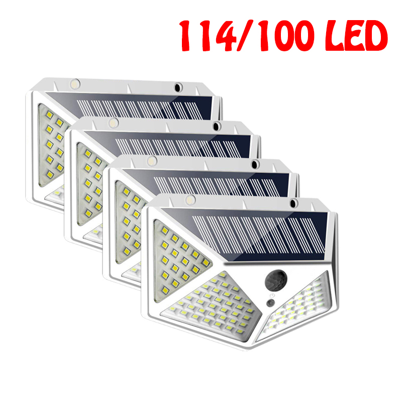 114/100 LED Solar Light Outdoor Solar Lamps PIR Motion Sensor Wall Light Waterproof Solar Sunlight Powered Garden Lights New
