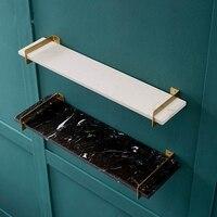Brass Marble Wall Rack Washbasin Storage Frame Luxury Laminate Floating Shelf 50/60cm Mirror Front Shelf Bathroom Accessories