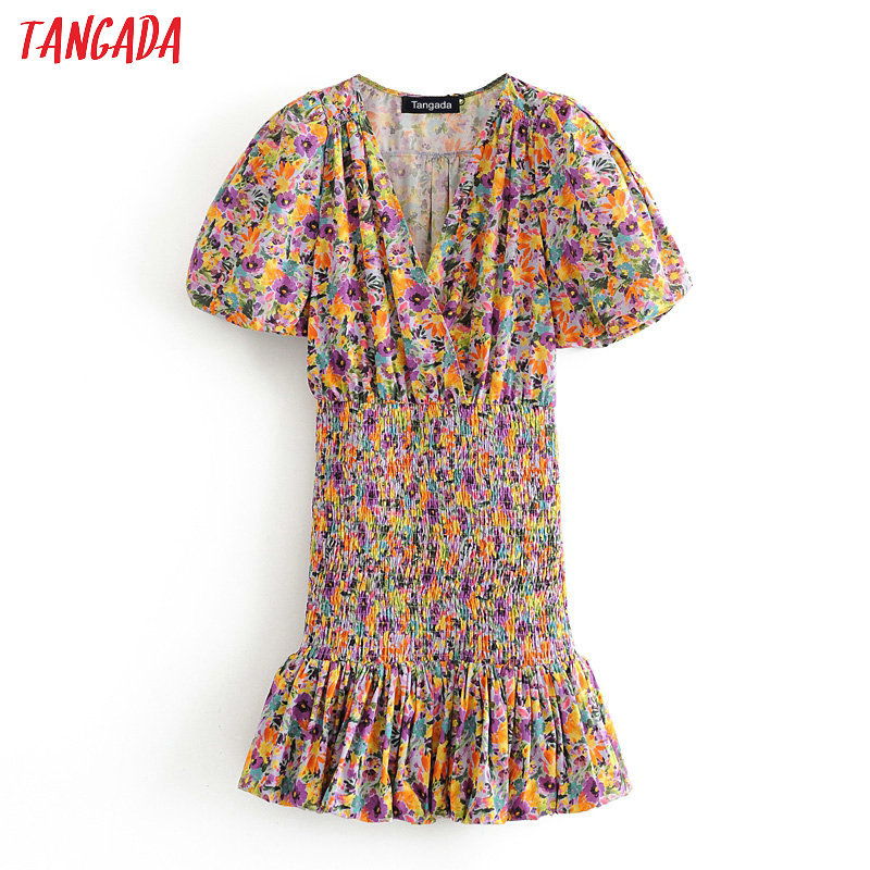 Tangada Women Floral Print Party Dress V Neck Short Sleeve 2020 Summer Females Mini Dresses Vestidos 3H583