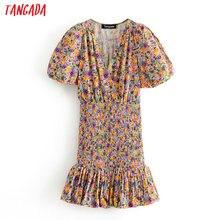 Tangada women floral print party dress v neck short sleeve 2020 summer females m