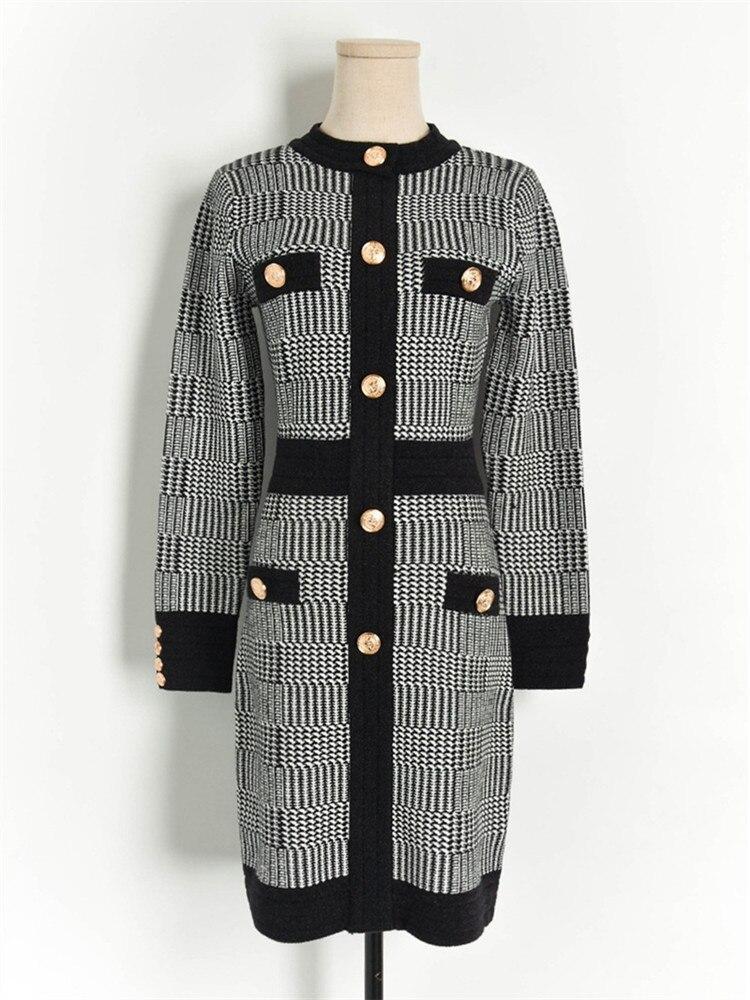 Роскошное Брендовое дизайнерское трикотажное платье для женщин с круглым вырезом в контрастную клетку на пуговицах с длинным рукавом трик...
