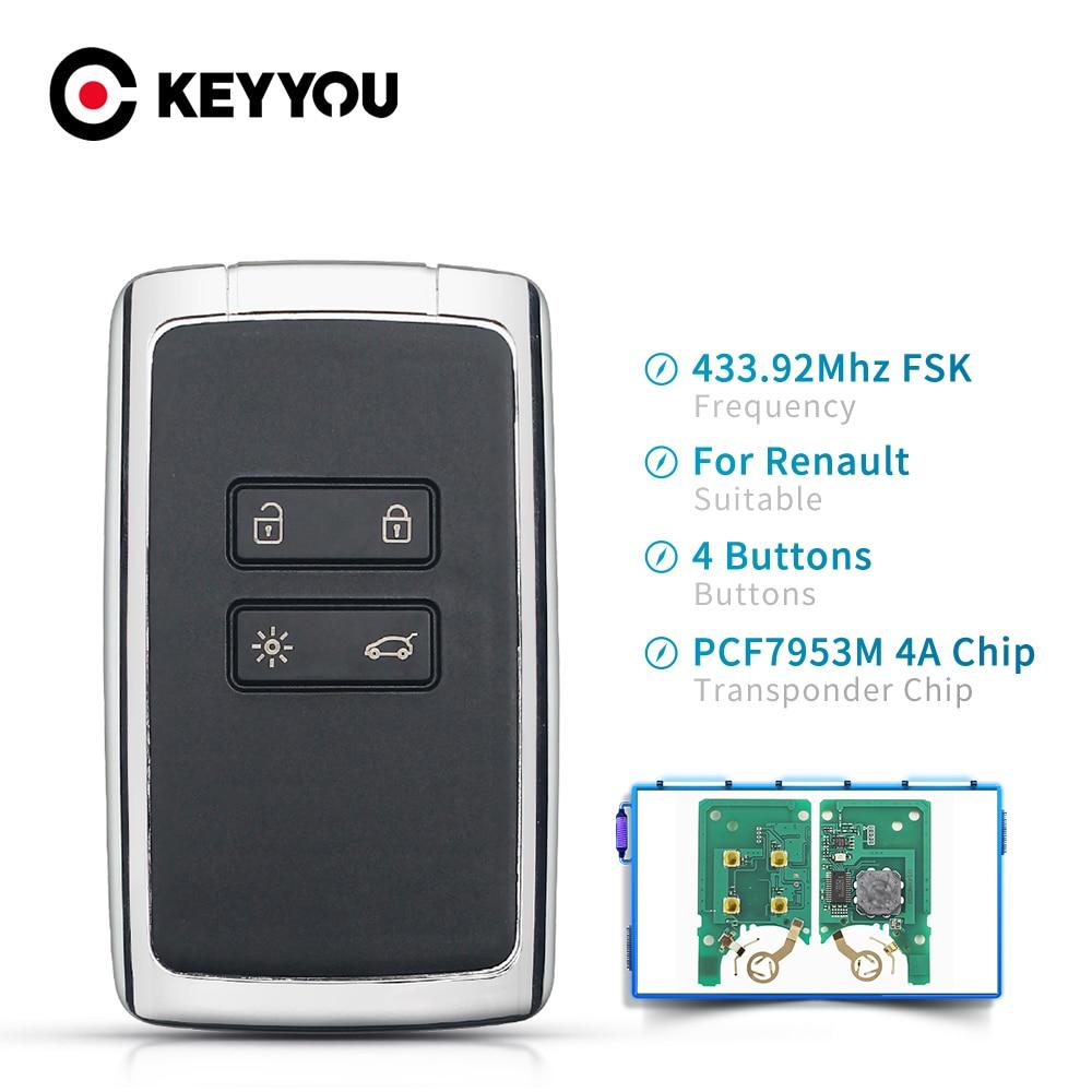 KEYYOU 4 кнопки смарт дистанционные брелки для ключей 434 МГц Hitag AES PCF7953M 4A чип тревоги автомобиля для Renault Megane 4 ключа Go/ввода ключа автомобиля