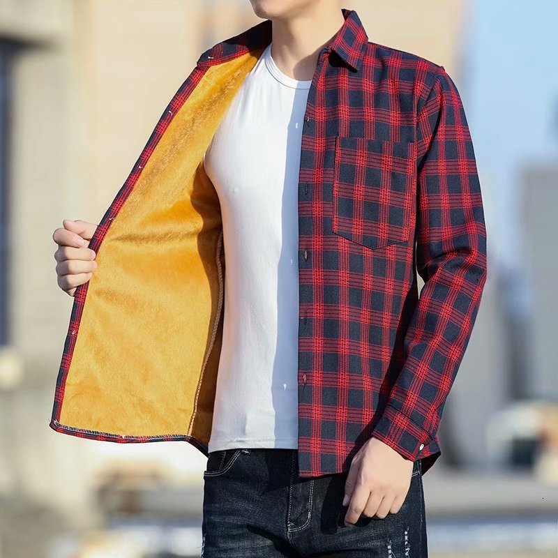 Men's Winter Warm Cashmere Long Sleeve Lattice Shirt Male Thickening Plaid Fund Casual Jacket Shirt Student Loose Loose Shirts