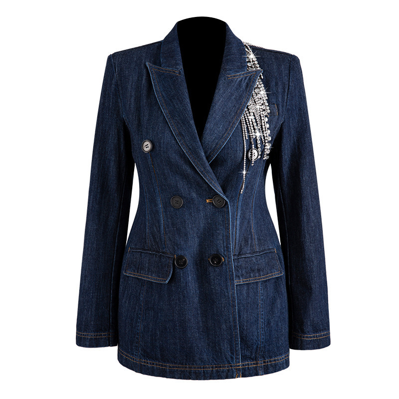 2019 Autumn And Winter New Products Fashion Lapel Solid Color Double-breasted Denim Long-sleeved Suit Jacket Female F700