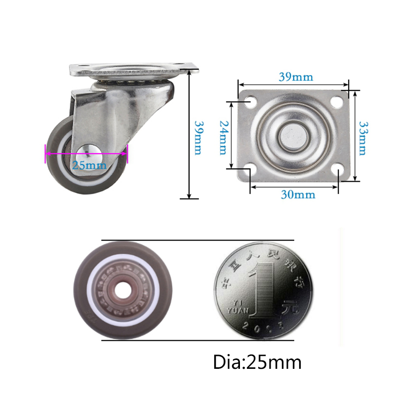 80kg 4pcs Furniture Casters Wheels Soft Rubber Swivel Caster Silver Roller Wheel For Platform Trolley Chair Household Accessori-4