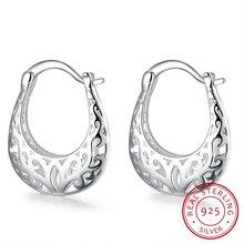 Серьги кольца женские из серебра 925 пробы с цветочным узором