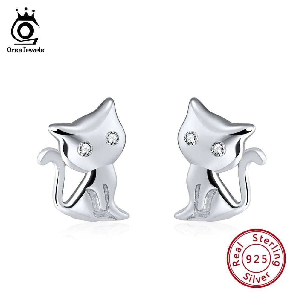 925 Sterling Silver Dog Stud Earrings Design 2