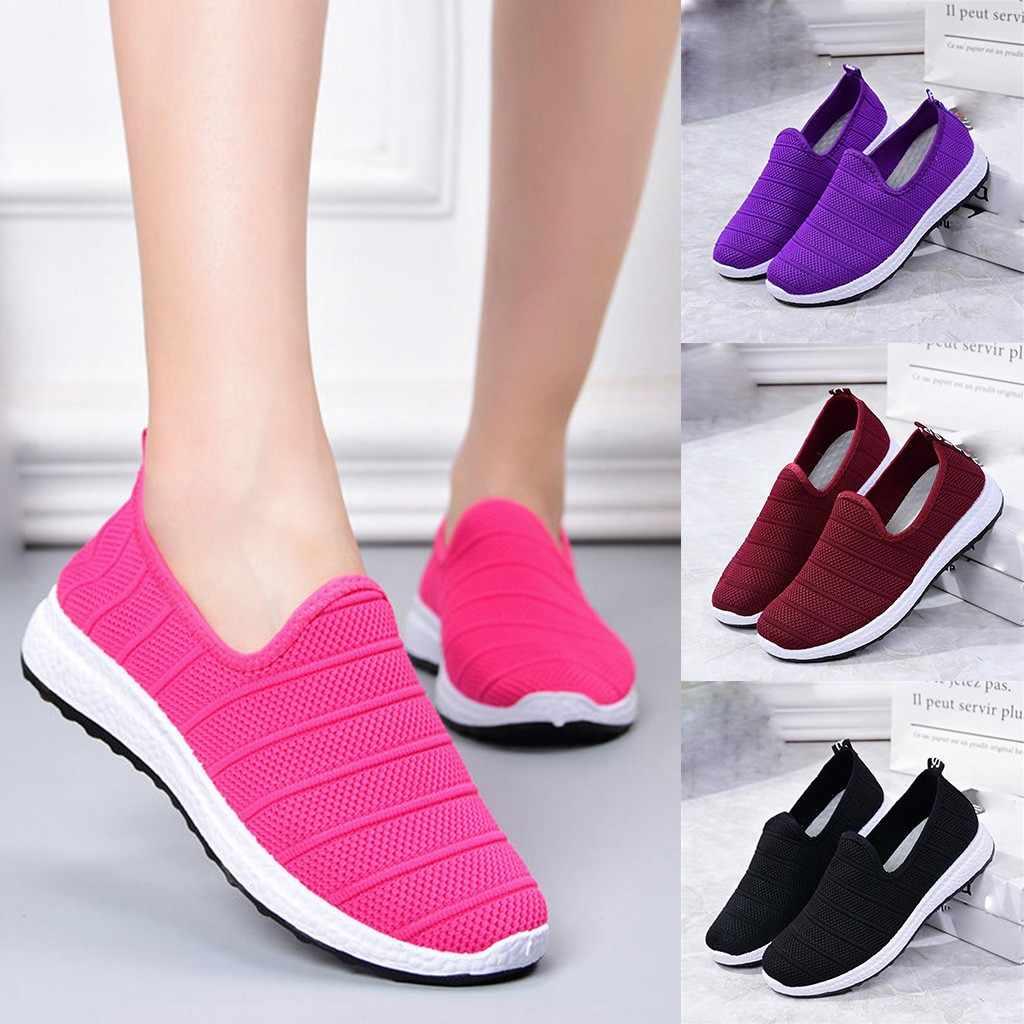 Günstige Schuhe Frauen Turnschuhe Atmungsaktives Mesh Laufschuhe Für Frauen Leichte Turnschuhe Plus Größe Slip Auf Schuhe Frauen # g4