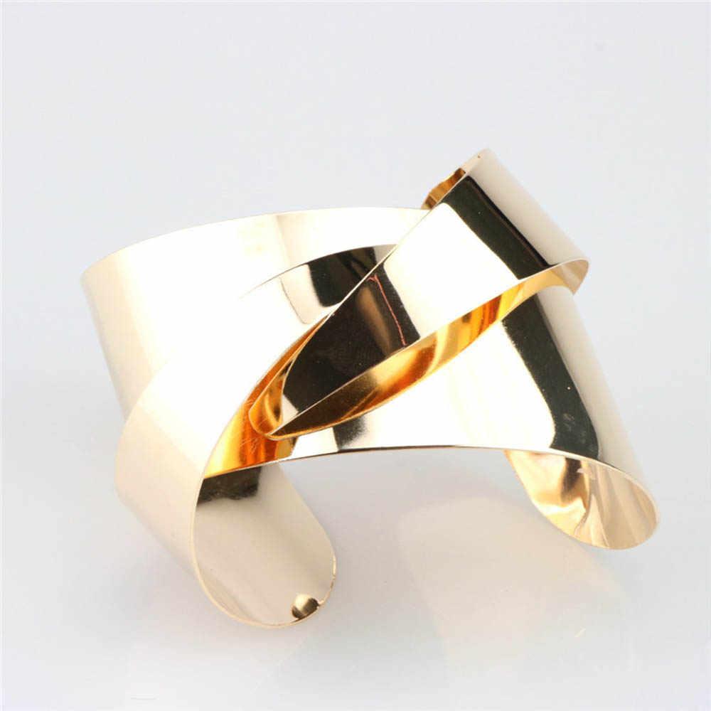 אופנה פאנק רוק רחב מראה מתכתי כסף זהב שרשרת צמיד צמידי מסיבת מועדון אביזרי תכשיטי חמה למכור