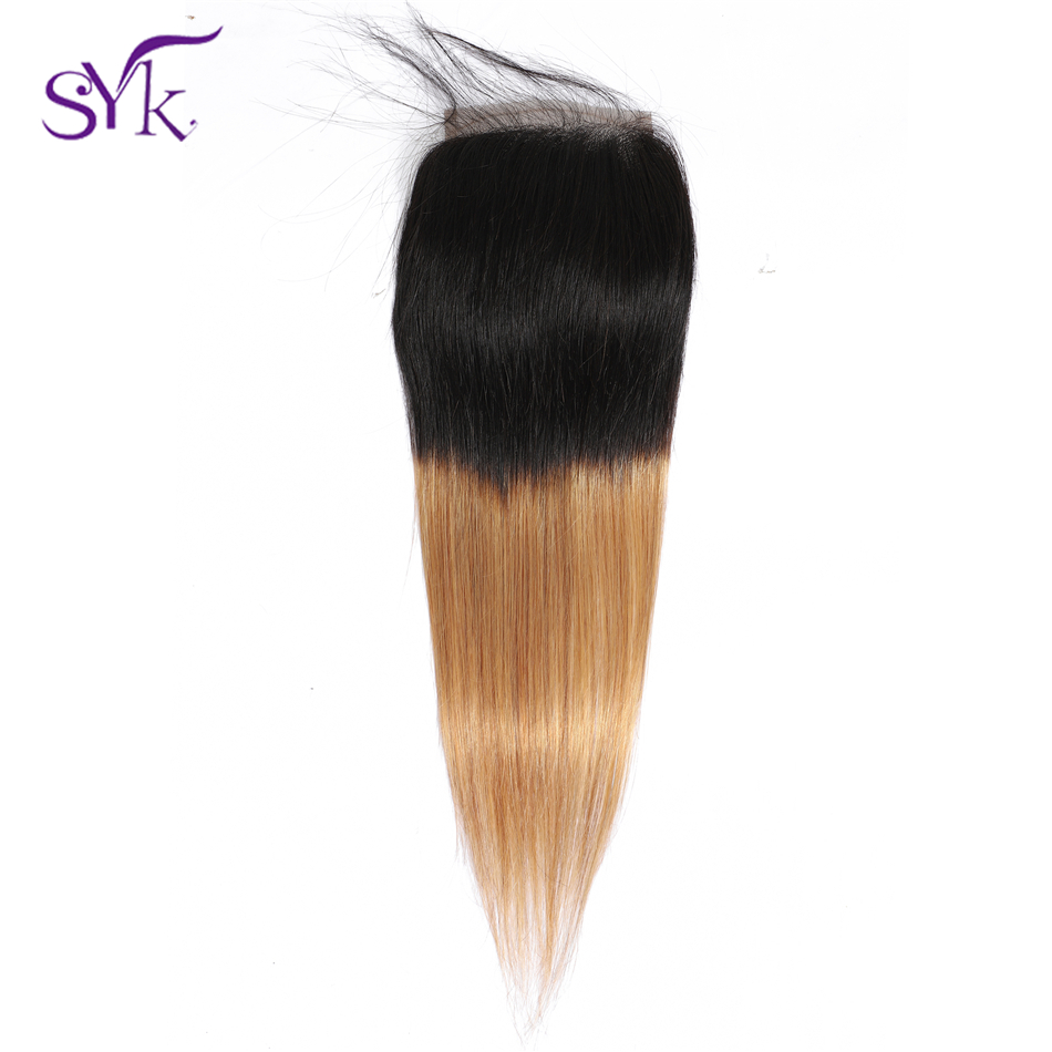 SYK Hair Ombre Lace Closure Brazilian Human Hair T1B/27 Straight Hair 4*4 Lace Closure Pre Colored Non Remy Hair Extensions