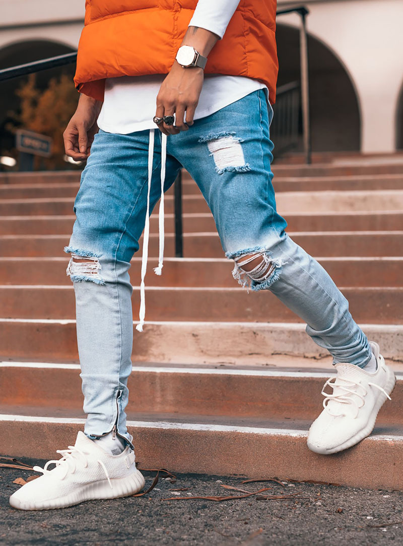 Trendy Gradient Men Skinny Jeans Biker Destroyed Slim Fit Denim Ripped Denim Pants Ankle Zipper Pencil Pants Hip Hop Streetwear