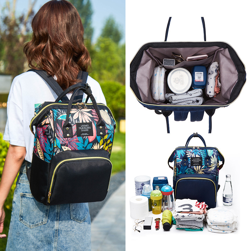 Floral Printed Diaper Bag Multi-functional Mommy Bag Outdoor Travel Backpack For Baby Care Nappy Bag Maternity Stroller Package