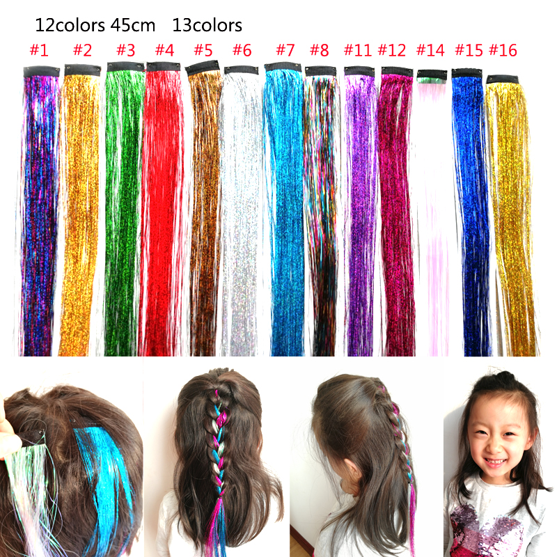 18 Inch Clip On In Hair Dazzle Tinsel Extensions Girls Women Glitter Party Hair Accessories RAINBOW Color Bling Hair Piece