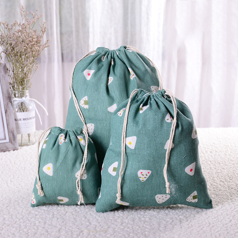 Linen Fabric Drawstring Storage Bag Food Underwear Socks Jewelry Organizer Kitchen Environmental Flour Rice Holder Shopping Bag