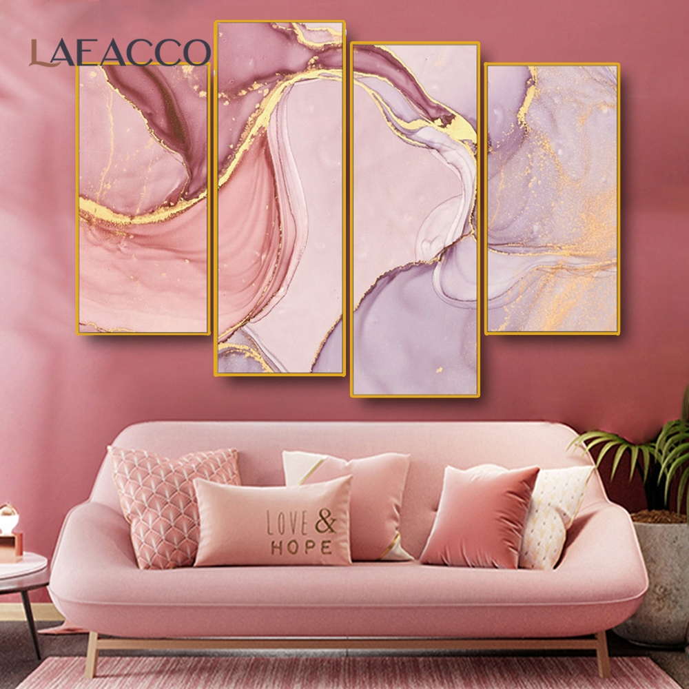 Laeacco Abstract Art Canvas Painting Wall Picture Marble Texture Prints For Home Living Room Bedroom Wall Decoration Unframed