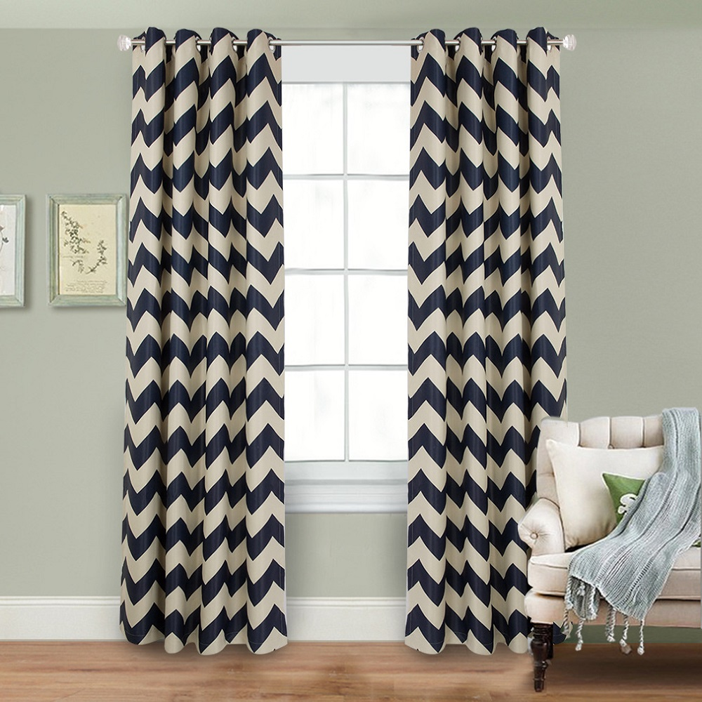 90% Shading Rate Blackout Curtains Blue White Stripe Window Curtain PanelsThermal Insulated Grommet Top Curtains For Living Room