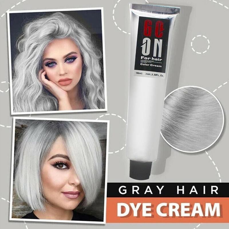 Gray Hair Dye Cream Punk Style Nature Permanent Light Silver Unisex Hair Dye Color Cream Cosmetic Beauty Hair Care