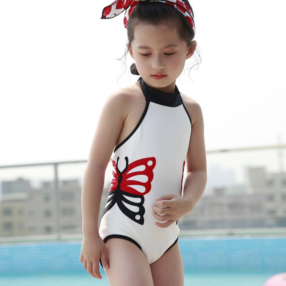 Wholesale 2019 New Style CHILDREN'S Swimsuit Europe And America Hanging Neck Backless Cute Butterfly Printed One-piece Swimming