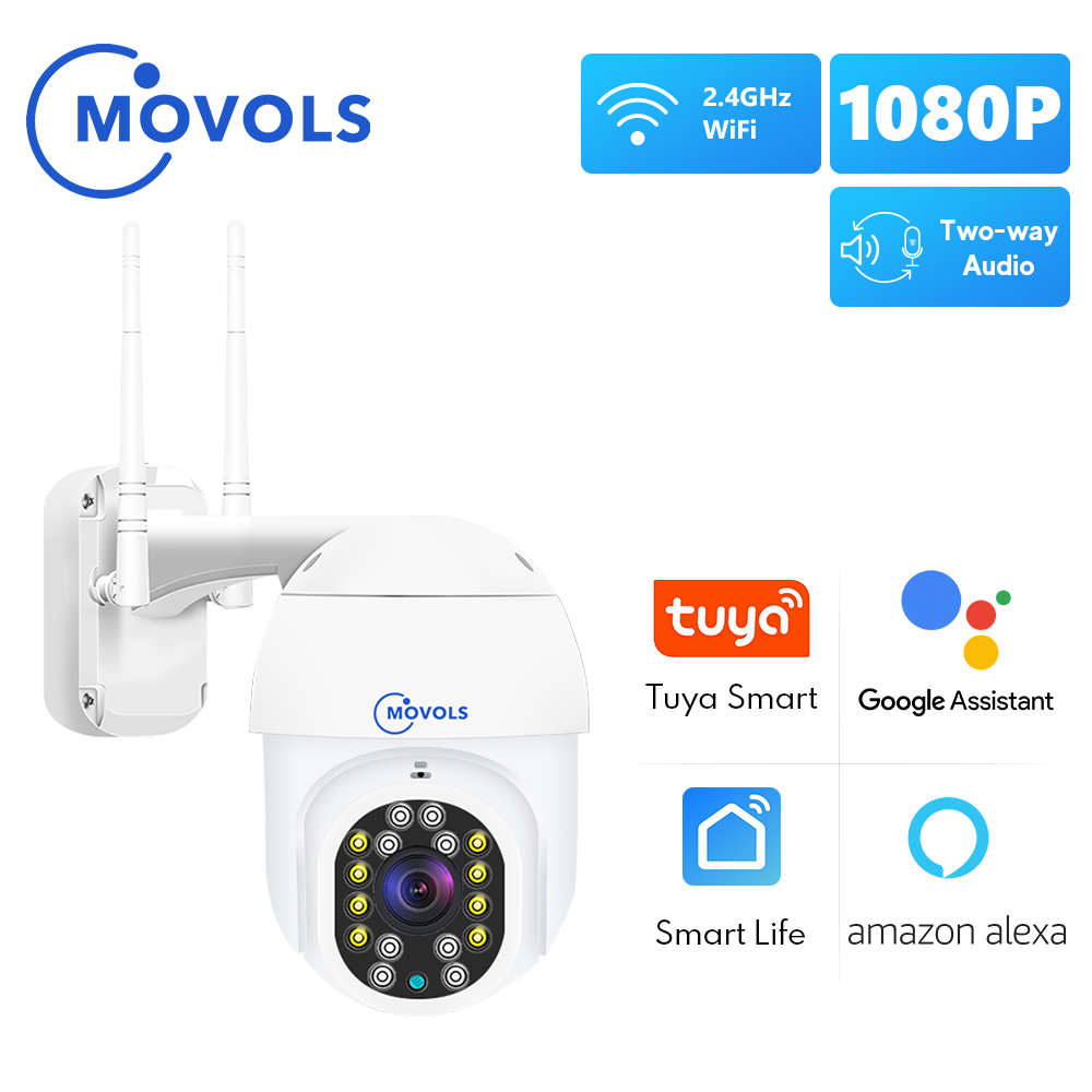 MOVOLS 1080P Tuya WIFI IP камера Smart Auto Tracking Googole Alexa Беспроводная PTZ наружная камера видеонаблюдения CCTV