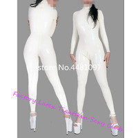 Sexy Unisex Women's White Latex Catsuit Rubber Bodysuits with Back Crotch Zip High Quality Latex Rubber Zentai fetish