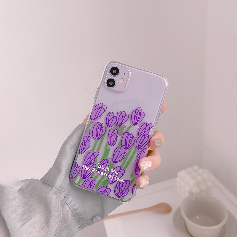 Cute Flower Transparent Case For iPhone 11 Pro Max SE 2020 X XR XS Max 7 8 Plus Luxury Floral Soft Silicone Phone Cover Coque