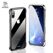 Luxury metal tempered glass phone case for iPhone X XS Max Simple transparent drop-proof shockproof