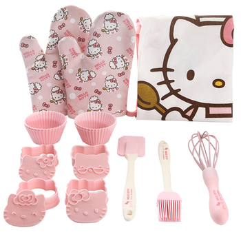 HELLOKITTY children's parent-child baking tool set apron glove egg-making device brush spatula pastry mold 6 to 8 pieces per set