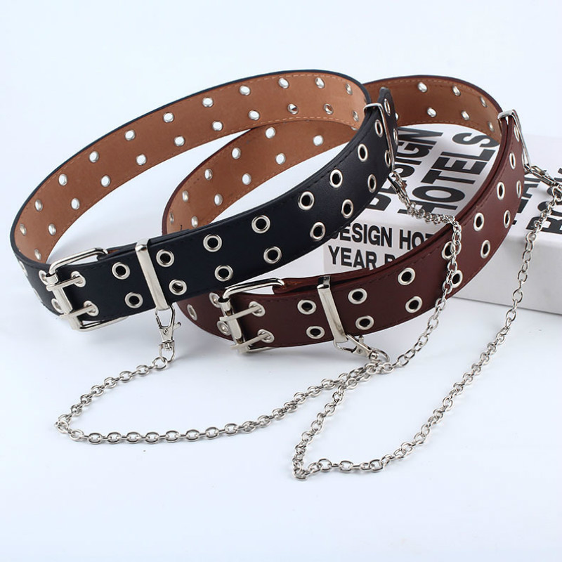 Women Punk Chain Fashion Belt Adjustable Black Double/Single Eyelet Grommet Leather Buckle Belt