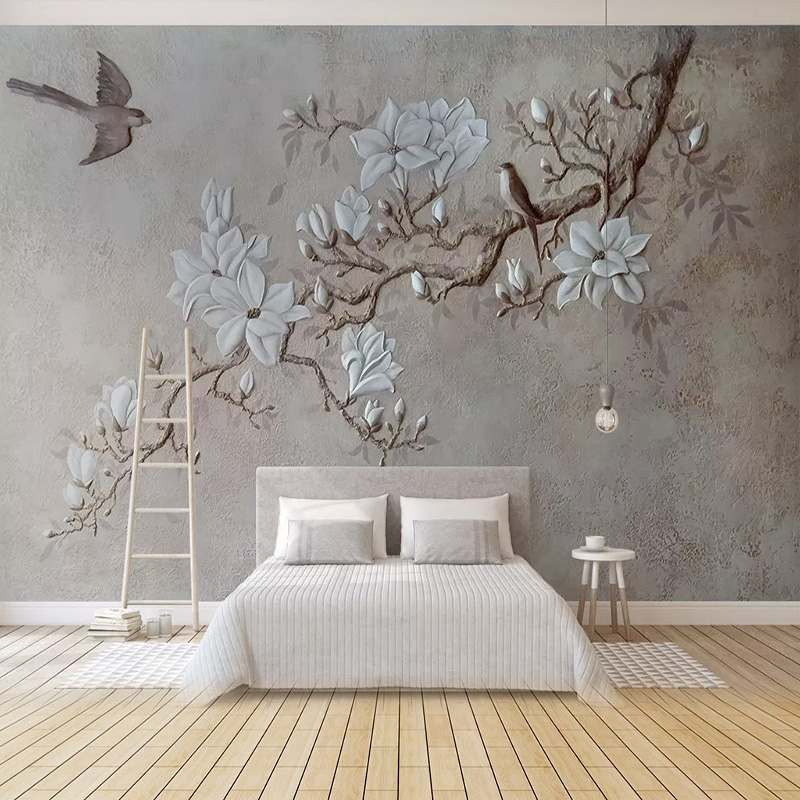 Custom Mural Wallpaper 3D Branches Magnolia Wall Painting Living Room TV Sofa Bedroom European Style Vintage Wall Paper 3D Decor