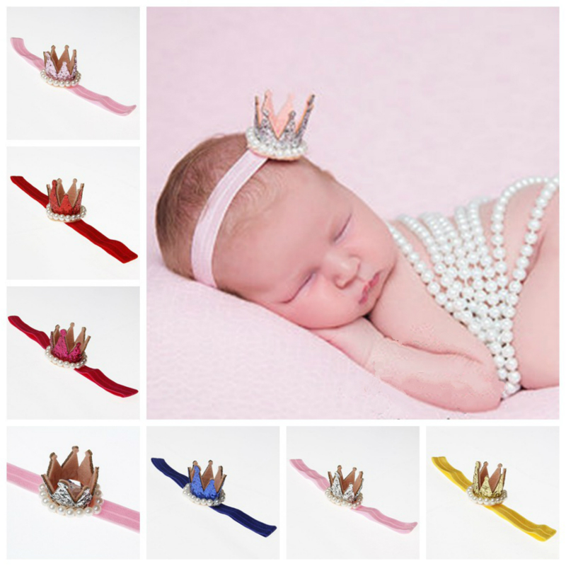 Newborn Crown Headband Gold Princess Pearl Crown Baby Girls Cute Hair Band Children Photo Props Infant Kids Hair Accessories