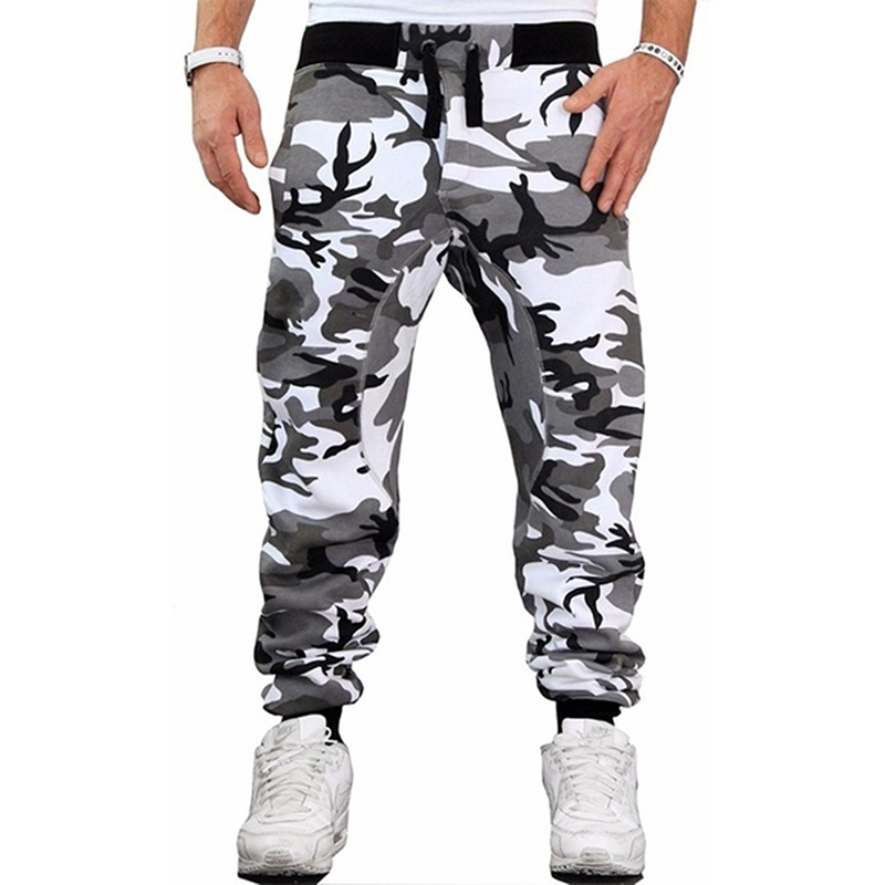 Camouflage Skateboarding Pants For Male Fashion Casual Slim Pants Mans Middle Waist Fitness Pants Trousers For Men