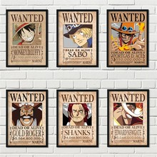 Cartoon Home Decor Wall Sticker Retro Wanted One Piece Japanese Anime Luffy Nursery Kids Room posters canvas painting