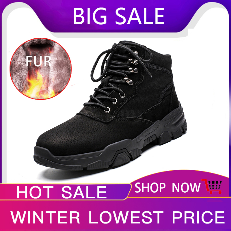 Hot Sale Winter Men Boots with Fur Warm Boots Men Lace Up Waterproof Ankle Footwear Male Casual Outdoor Fashion Big Size New in Basic Boots from Shoes