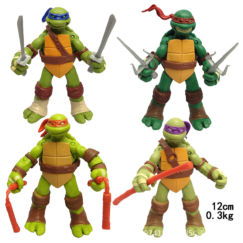 4pcs/set Leo Raph Mike Don Action Figure Turtles Anime Tartaruga Model Hands And Feet Can Move Toys For Children