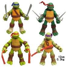 Pçs/set 4 Leo Raph Don Mike Tartaruga Tartarugas Figura de Ação Anime Modelo de Mãos E Pés Podem Se Mover Brinquedos Para As Crianças