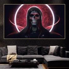 Impressão em tela arte moderna pintura escandinava esqueleto no crânio preto anime cartazes quadros para casa arte da parede cuadros