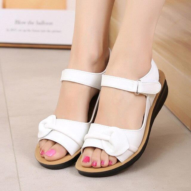 Mütter Plattform Sandalen Sommer Flache Schuhe Frau Runde Kappe Mode Keile Weibliche Mama Flache Sandale Damen Casual Schuhe