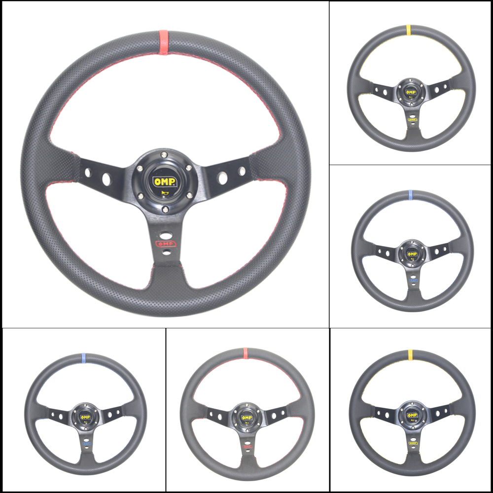 Free Shipping OMP Car Sport Steering Wheel Racing Type High Quality Universal 14 Inches 350MM Aluminum+PVC 4 Style Red Yellow
