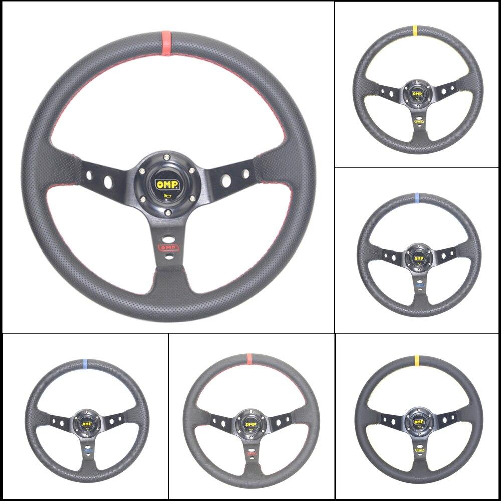 Livraison gratuite OMP voiture Sport volant de course type haute qualité universel 14 pouces 350MM aluminium + PVC 4 style rouge jaune